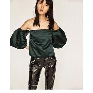 Zara Satin Off Shoulder Puff Bell Sleeve Top